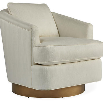 Ophelia Swivel Chair, Chalk/Gold - Club Chairs - Chairs - Living Room - Furniture | One Kings Lane