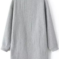 Grey Striped Pattern Long Sleeve Sweatshirt
