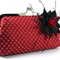 ANGEE W. Winter Garden Passion - Red Clutch with Feathery Flower 8 | ANGEEW - Wedding on ArtFire