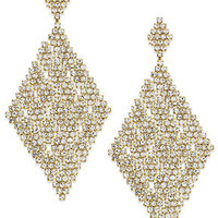 ABS by Allen Schwartz - Gold-Tone Crystal Mesh Diamond-Shaped Drop Earrings