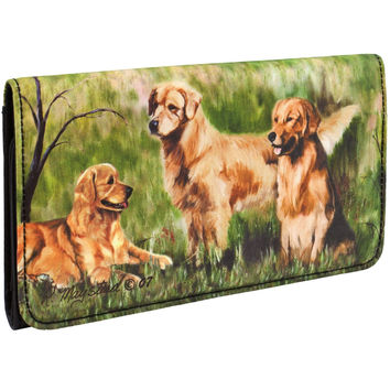 Golden Retrievers in Yard Checkbook Wallet