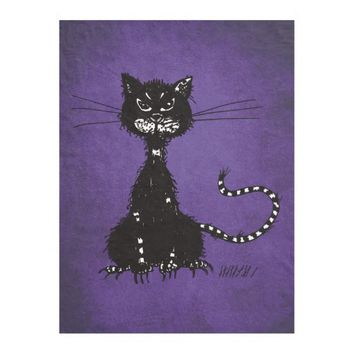 Gothic Purple Ragged Evil Black Cat Fleece Blanket