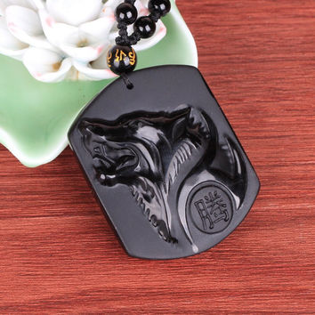 Natural Black Obsidian Carving Wolf Head Amulet pendant free necklace obsidian Blessing Lucky pendants fashion Jewelry