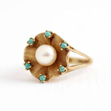Vintage Pearl Ring - 10k Rosy Yellow Gold Cultured Pearl Ring - Size 5 3/4 Retro 1960s White Gemstone Flower Turquoise Blue Halo Ring