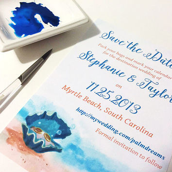 """Starfish Wedding Save the Date Card SAMPLE - Beach Save the Date Card """"Clam Shell Treasures"""" Destination Wedding - Watercolor Wedding"""
