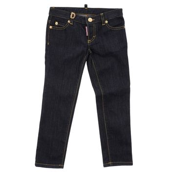Dsquared2 Girls Gold Studded Dark Blue Denim Jeans