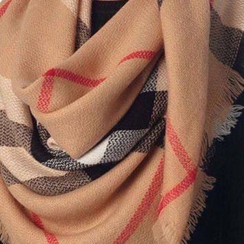 Camel Burberry Inspired Blanket Scarf