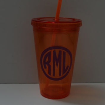 Personalized Acrylic Tumbler - Orange and Purple Cup - Monogrammed Tumbler - Halloween Mug