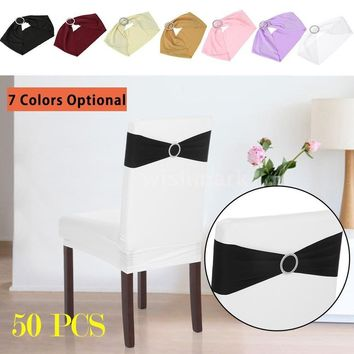 Fashion Accessorie 50PCS Wedding Decorations Elastic Spandex Chair Cover Sashes Bows Elastic Chair Bands With Buckle Slider Sash