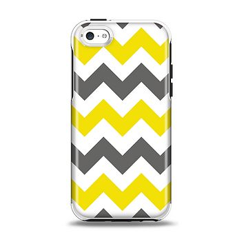 The Gray & Yellow Chevron Pattern Apple iPhone 5c Otterbox Symmetry Case Skin Set