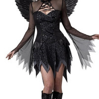 Sexy Black Gothic Fallen Angel Adult Womens Halloween Costume Fancy Party Dress 3PCS (Size: M, Color: Black) = 1946458244