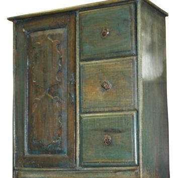Antique distressed blue desert armoire, chest, nightstand, side table With Drawers farmhouse cottage boho Design