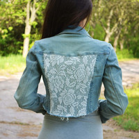 Cropped Festival Denim Boho Sexy Jacket with Lace Back Lace Jacket Denim Lace Jacket Sexy Cropped Jacket Coachella Festival Clothing