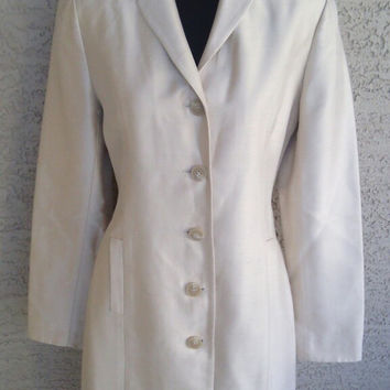 Stunning silk coat dress blazer  bronze cream color - 100% silk - Ann Taylor coat 5 button front - 2 pocketsw - size 4 petite vintage 80s