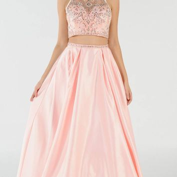 Blush Two-Piece Long Prom Dress Satin Skirt with Pockets