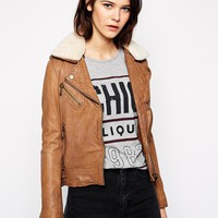 Doma Leather Jacket with Detachable Shearling Collar