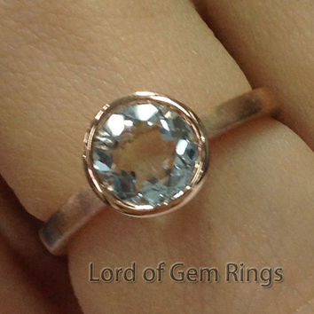 Bezel Set 7mm Blue Aquamarine Engagement Ring in 14K Rose Gold Solitaire,Wedding Bridal