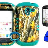 Hybrid Impact Rugged Cover Case Camo Mossy Big Branch Hunter Series on Teal Skin for 2013 Release Samsung Galaxy Exhibit 4G T599 (Included: Screen Protector, Wristband and Pry Tool Exclusively By Wirelessfones TM)