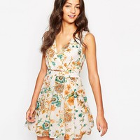 Style London Wrap Front Dress in Floral Print