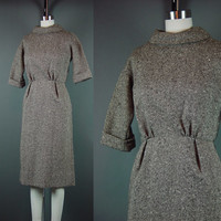 50s Fleck Tweed Dress Vintage 1950s Brown Button Back Rolled Neck Career Work Dinner S Small