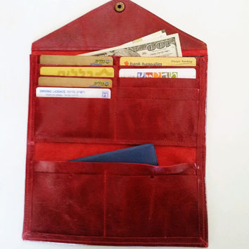 ON SALE Envelope leather wallet - red