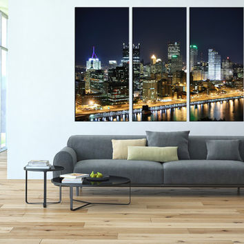 pittsburgh wall art canvas print, extra large wall art, citycape art, pittsburgh's skyline wall art, pittsburgh contemporary wall decor t110