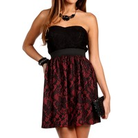 Red/Black Lace Color Block Dress