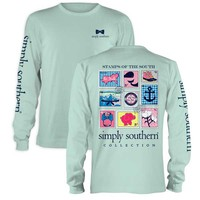 Simply Southern Preppy Collection Stamps of the South Long Sleeve Tee in Celedon LS-PRPSTAMP-CELEDON