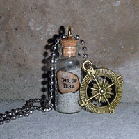 Pirates of the Caribbean Jar of Dirt Necklace with Compass
