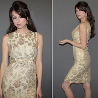 Vintage 60s GOLD BROCADE DRESS / Foiled, Metallic + Linen Floral Dress / Empire Waist / Sleeveless Cocktail, Elegant Winter / Small
