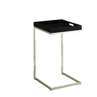 Cappuccino/Chrome Metal Accent Table/Serving Tray