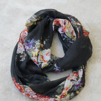 Black Bouquet Infinity Scarf [2231] - $12.00 : Vintage Inspired Clothing & Affordable Dresses, deloom | Modern. Vintage. Crafted.