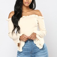 Natural Delight Ruffle Top - Taupe