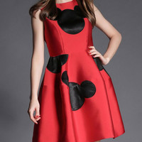 Mickey Mouse Print Sleeveless A-Line Dress