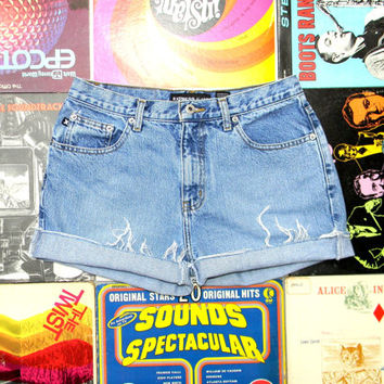 90's Express Denim Shorts, Vintage 90s Light Stone Washed High Waisted Jean Shorts - Rolled Up, Naturally Distressed Shorts Size 10 Medium M