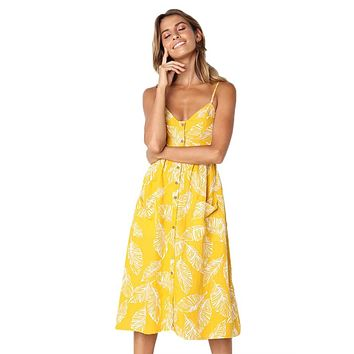 Leaf Vein Print Yellow Button Down Sundress