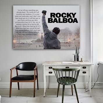 Rocky Balboa Bodybuilding Print Posters Motivational Black and White Quote Wall Art Canvas Painting Bedroom Decoration Picture