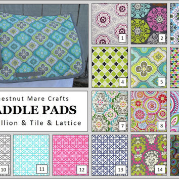 MADE TO ORDER English All Purpose Saddle Pad: Medallion, Tile, Lattice Print