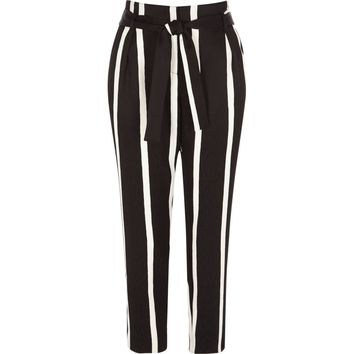 Black stripe print tie waist tapered pants - Tapered Pants - Pants - women