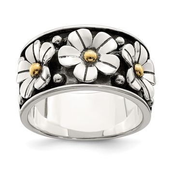 925 Sterling Silver Antiqued with Gold Centers Daisy Ring