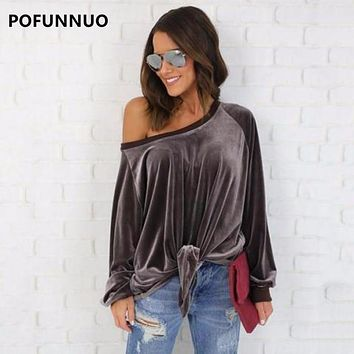 Pofunuo Women Brown Off Shoulder Velvet Blouse 2017 Spring Female Casual Long Sleeve Red Loose Tie Front Shirt Fashion Gray Tops