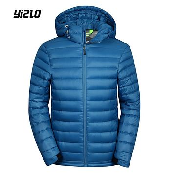 YIZLO lightweight jacket men down hooded ultra light polyester solid down jacket Plus size 3XL