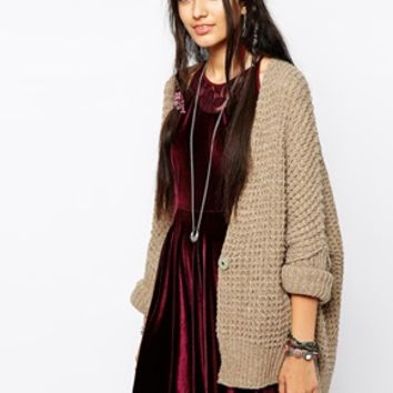 Free People Breeze Cardigan in Chunky Waffle Knit