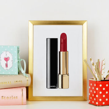CHANEL LIPSTICK Birthday Gift,Gift For Her,Gift For Girlfriend,Makeup Art,Coco Chanel Lipstick,Glam Room,Wall Art Makeup Print,Fashion Print