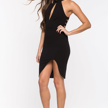 Rail Halter Bodycon Dress