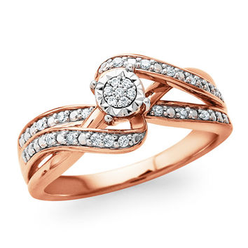 1/10 CT. T.W. Diamond Composite Bypass Promise Ring in Sterling Silver and 14K Rose Gold Plate