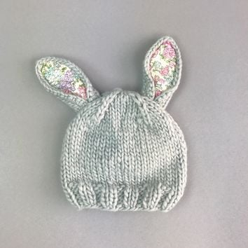 Bailey Bunny Knit Hat with Liberty Fabric 2017