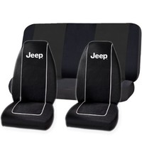 Jeep High Back Seat Covers Universal Bench Seat Cover set by U.A.A. Inc. (Black)
