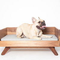 Modern Wood Dog Bed - The Joey High Back Bed