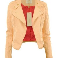 Gracious Girl Women's Diana Faux Leather Biker CropJacket Peach 4